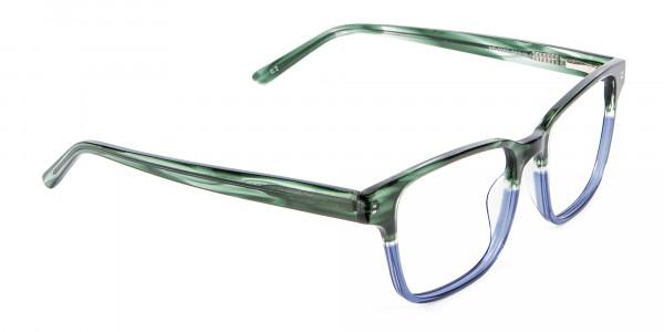 Green & Blue Rectangular Glasses - 1