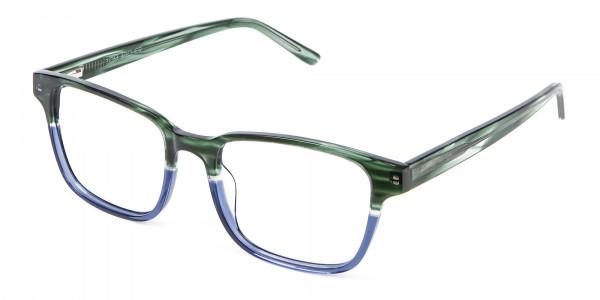 Green & Blue Rectangular Glasses - 2