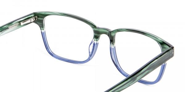 Green & Blue Rectangular Glasses - 4