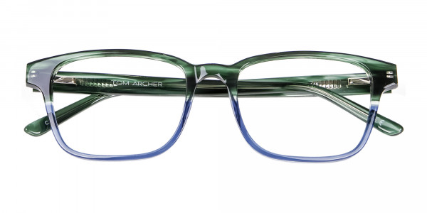 Green & Blue Rectangular Glasses - 5