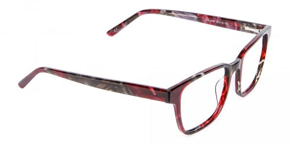 Burgundy & Brown Rectangular Glasses -1
