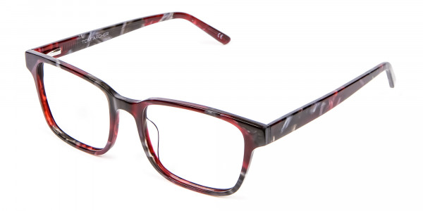 Burgundy & Brown Rectangular Glasses -2