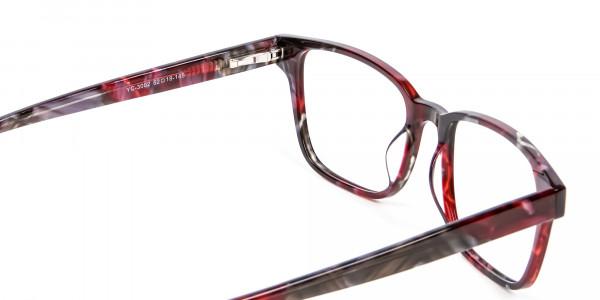 Burgundy & Brown Rectangular Glasses -4