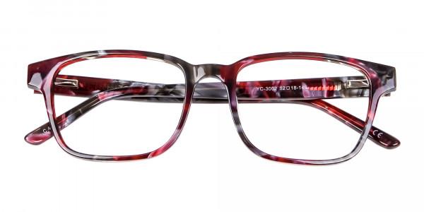 Burgundy & Brown Rectangular Glasses -5