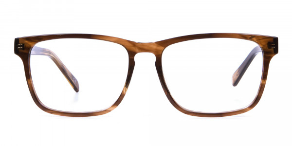 Walnut Brown Glasses in Rectangular