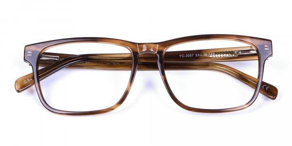 Walnut Brown Glasses in Rectangular - 5