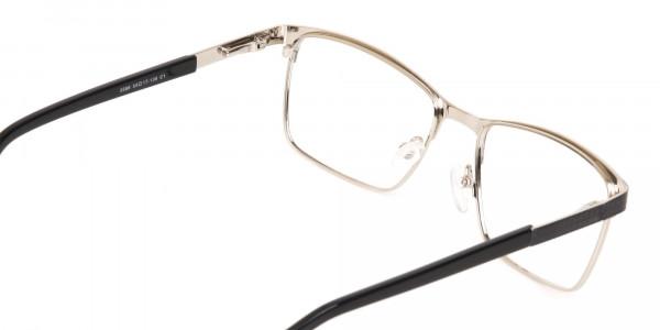 Black Silver Metal Rectangular Glasses Frame-5