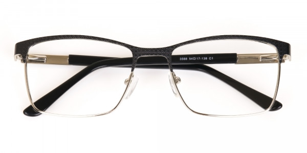 Black Silver Metal Rectangular Glasses Frame-6