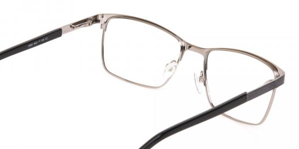 Black and Silver Grey Gunmetal Rectangle Glasses-5
