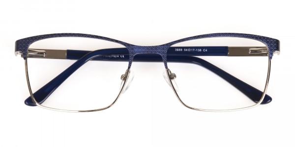 Royal Blue & Gunmetal Rectangular Metal Glasses-6