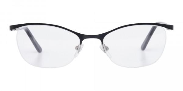Matte Black Marble Metal Oval Cateye Glasses Women-6