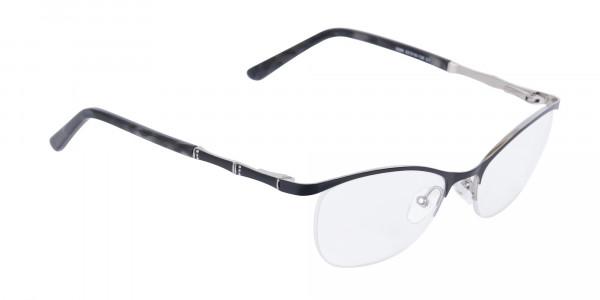 Matte Black Marble Metal Oval Cateye Glasses Women-2