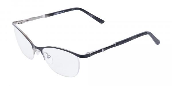 Matte Black Marble Metal Oval Cateye Glasses Women-3