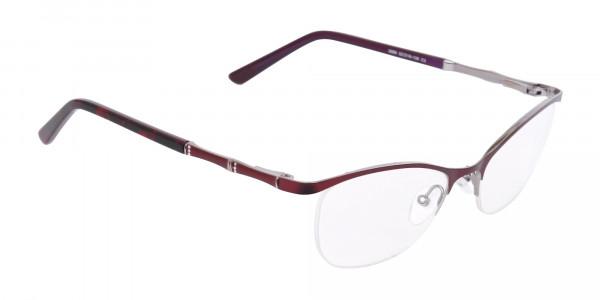 Burgundy Red Oval Cat-Eye Glasses Frame Women-2