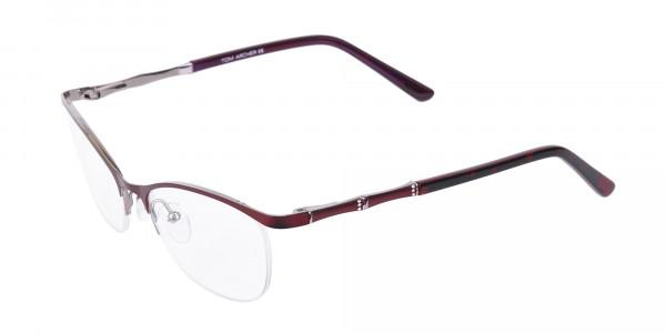 Burgundy Red Oval Cat-Eye Glasses Frame Women-3