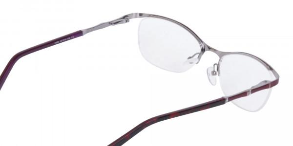 Burgundy Red Oval Cat-Eye Glasses Frame Women-5