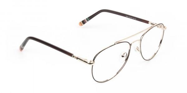 Aviator Dark Brown Gold Fine Metal Glasses - 2