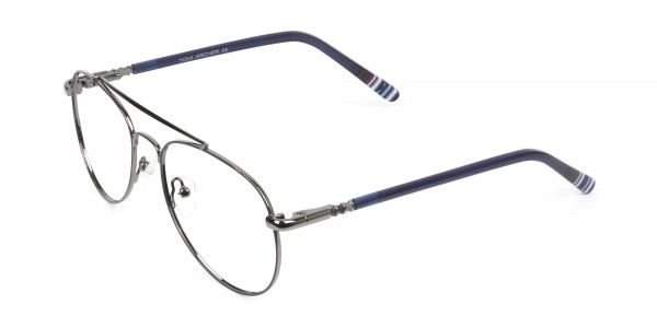 Aviator Gunmetal Dark Blue Fine Metal Glasses - 3