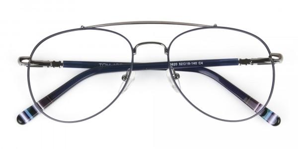 Aviator Gunmetal Dark Blue Fine Metal Glasses - 6