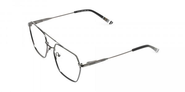 Hipster Geometric Black & Gunmetal Thin Metal Frame Glasses - 3
