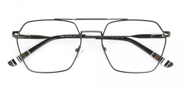 Hipster Geometric Black & Gunmetal Thin Metal Frame Glasses - 6