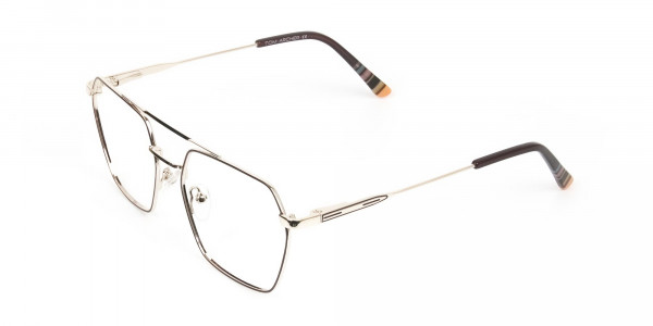 Hipster Geometric Gold & Brown Thin Metal Frame Glasses - 3