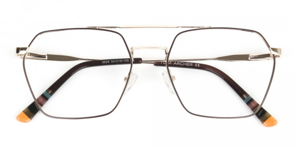Hipster Geometric Gold & Brown Thin Metal Frame Glasses - 6