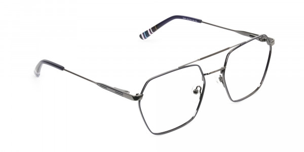 Dark Navy & Gunmetal Thin Metal Glasses - 2