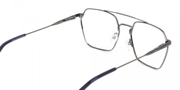 Dark Navy & Gunmetal Thin Metal Glasses - 5
