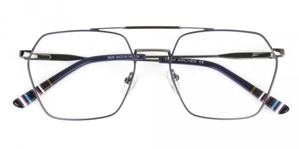 Dark Navy & Gunmetal Thin Metal Glasses - 6