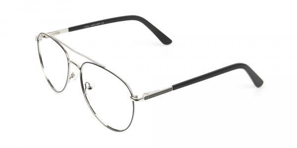 Ultralight Aviator Silver & Black Glasses - 3