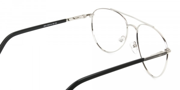 Ultralight Aviator Silver & Black Glasses - 5