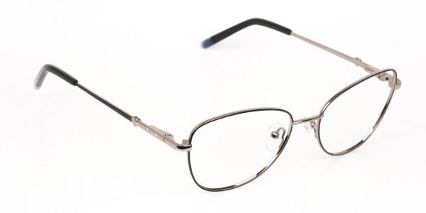 Black & Silver Metal Cat Eye Glasses Women-2