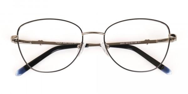 Black & Silver Metal Cat Eye Glasses Women-7