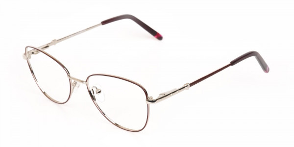 Black & Silver, Red  Metal Cat Eye Glasses Women-3