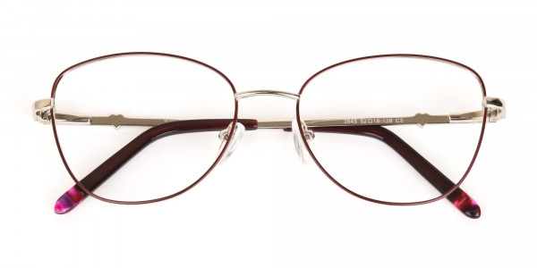 Black & Silver, Red  Metal Cat Eye Glasses Women-7