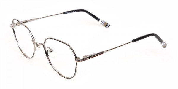 Black & Silver Wayfarer Metal Glasses in Full-Rim-3