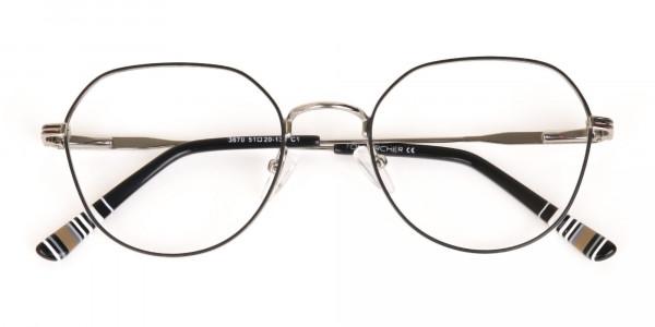 Black & Silver Wayfarer Metal Glasses in Full-Rim-6