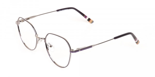 Raisin Purple & Silver Wayfarer Metal Glasses-3
