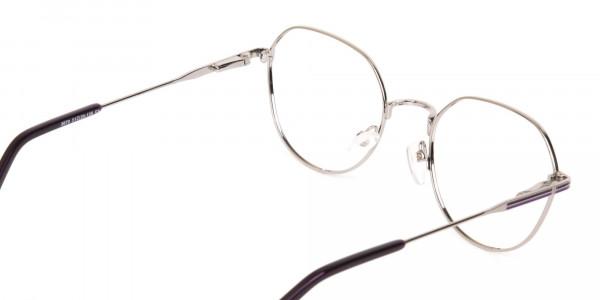 Raisin Purple & Silver Wayfarer Metal Glasses-5