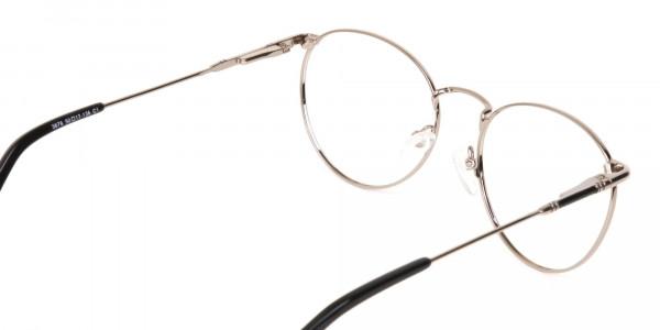 Black & Silver Round Metal Glasses Unisex-5