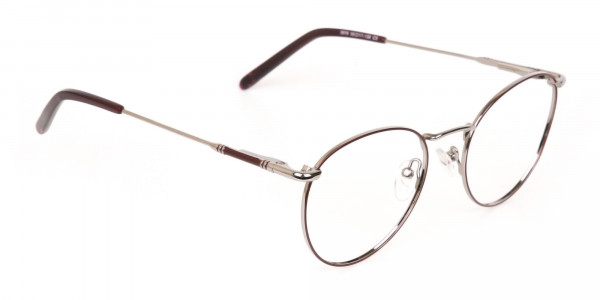 Red, Burgundy & Silver Metal Round Glasses-2