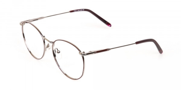 Red, Burgundy & Silver Metal Round Glasses-3
