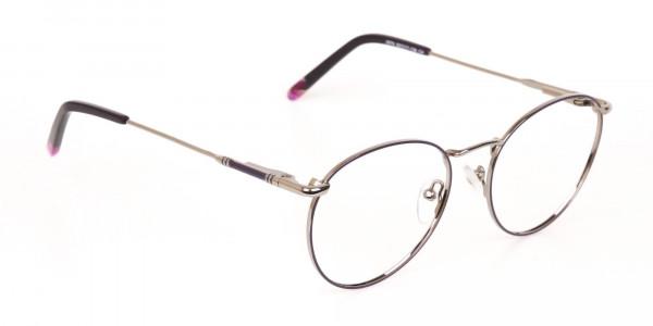Raisin Purple & Silver Round Glasses in Metal -2