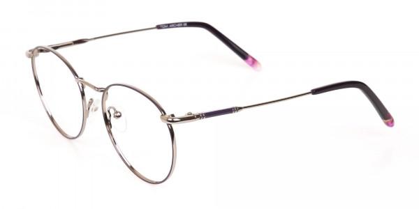 Raisin Purple & Silver Round Glasses in Metal -3