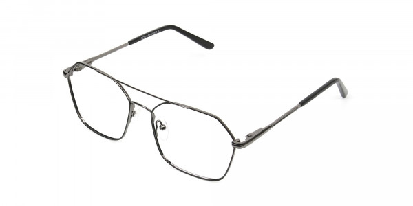 Geometric Aviator Black Gunmetal Spectacles - 3