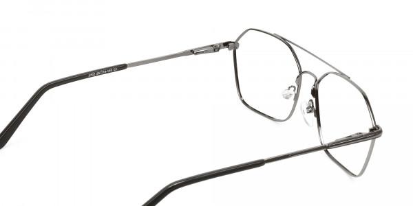 Geometric Aviator Black Gunmetal Spectacles - 5