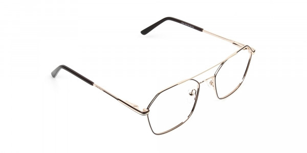 Geometric Aviator Brown & Gold Spectacles - 2