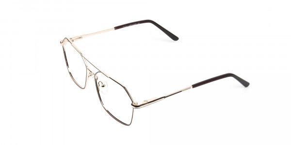 Geometric Aviator Brown & Gold Spectacles  - 3