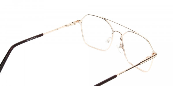 Geometric Aviator Brown & Gold Spectacles - 5